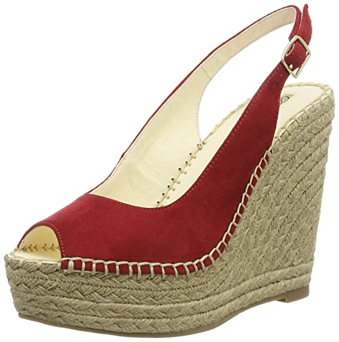 Buffalo London 3154554 Microsuede Sandali con Zeppa Donna Rosso Red
