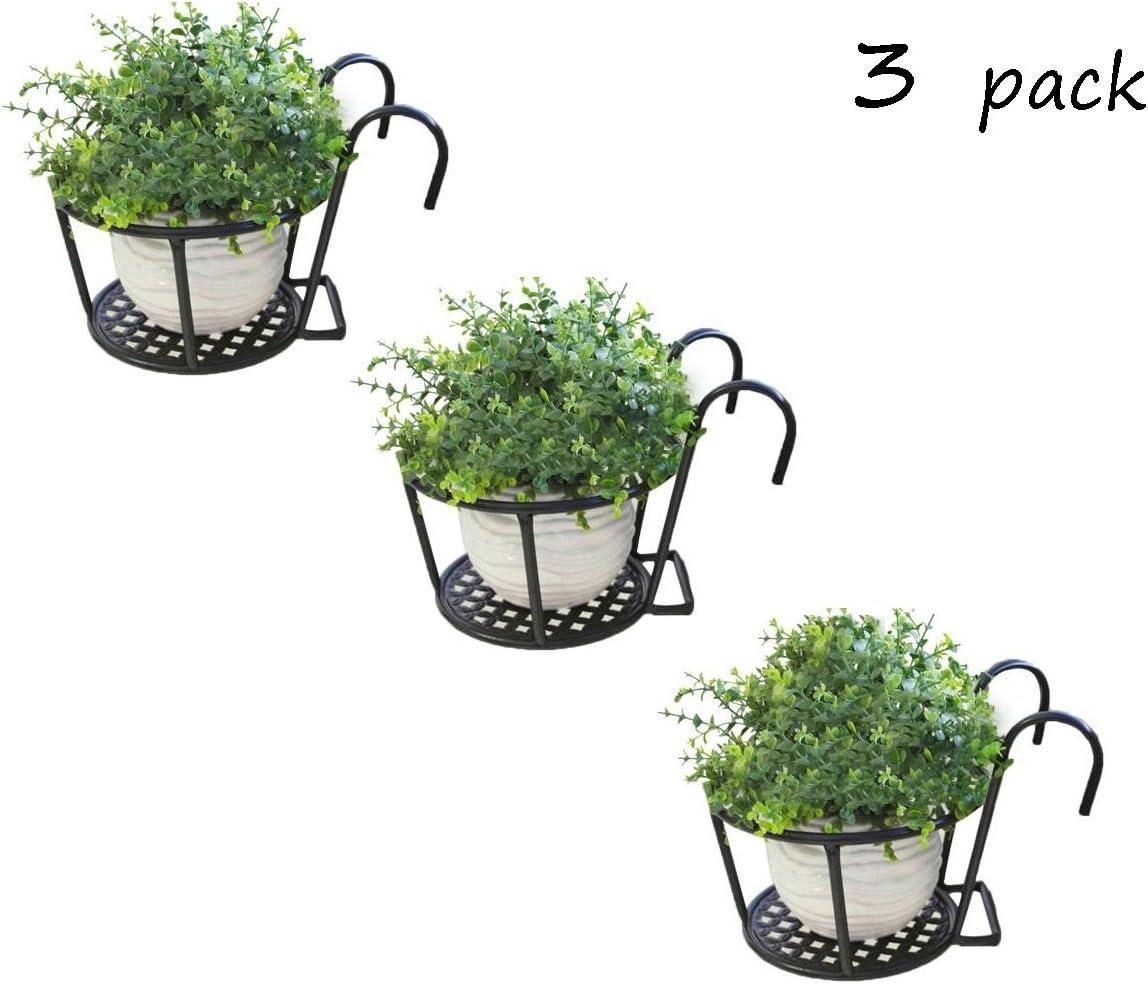 JKL-Soportes para Plantas Pérgola Balcón Barandilla de Hierro Forjado Europeo Soportes de Flores Clorofila Eneldo Verde Maceta Colgante Ventana Colgante Valla de Metal Soporte de Flores