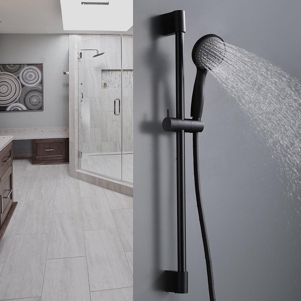 KES Bathroom Sliding Shower 3 Function Head Hand Held Shower with Slide Bar Handheld Showerhead with Slider Showering System Adjustable Height Contemporary Style Matt Black, F200-BK+KP324-BK