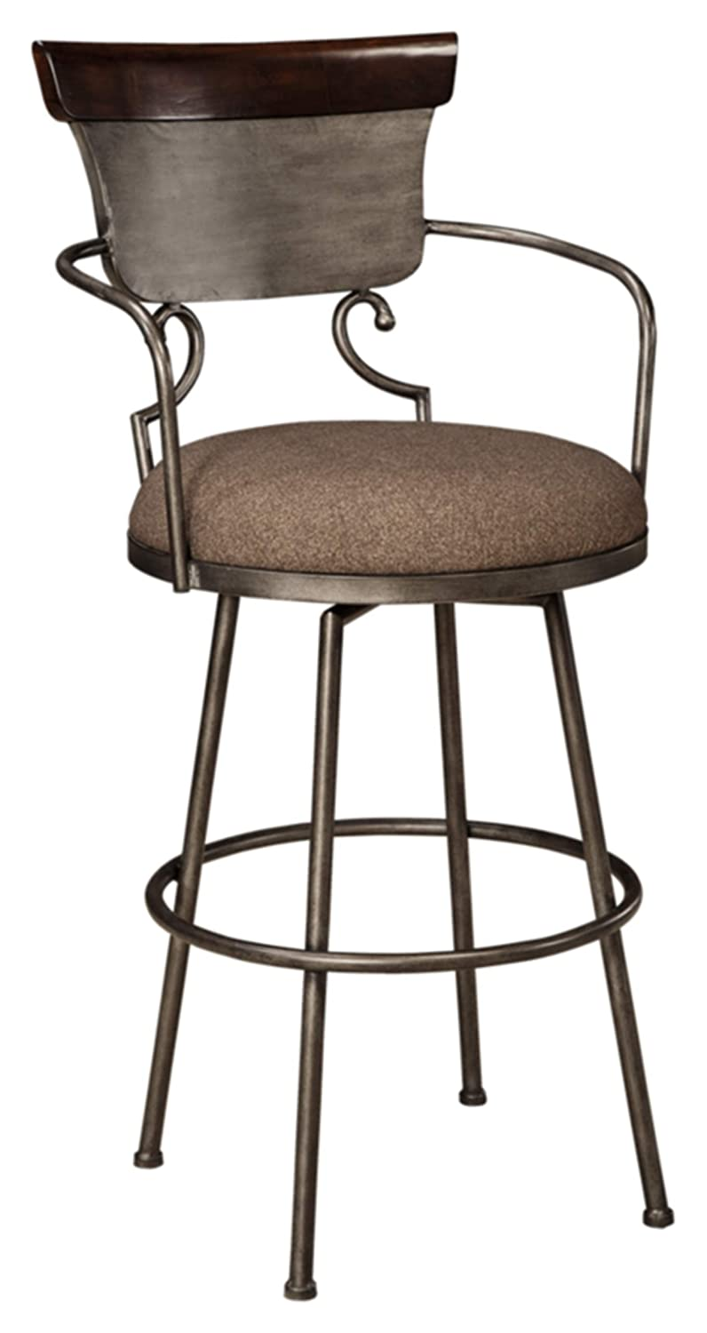 Ashley Furniture Signature Design – Moriann Swivel Barstool – Pub Height – Vintage Casual – Two-tone