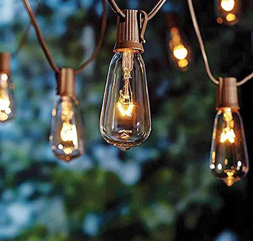 SkrLights 20Ft Edison String Lights with 22 Glass Clear Edison Bulbs ST40 Vintage Edison String Lights, UL Listed 7W C9 E17 Screw Base Patio Bistro Backyard Indoor Outdoor String Lights-Brown Wire