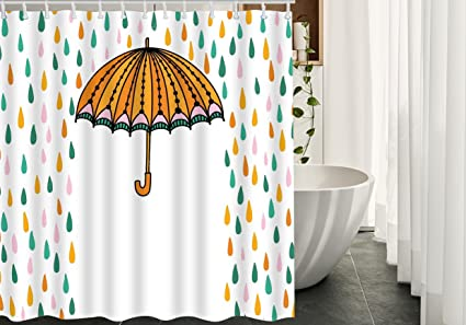 HGOD DESIGNS Rain Shower Curtain For BathroomColored Umbrellas And Colorful RaindropsWaterproof Polyester