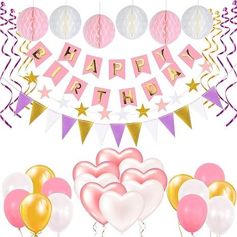 Decoración Cumpleaños, Gyvazla Pancartas Happy Birthday + 6 Pompón Bolas de Papel + 1 Bandera