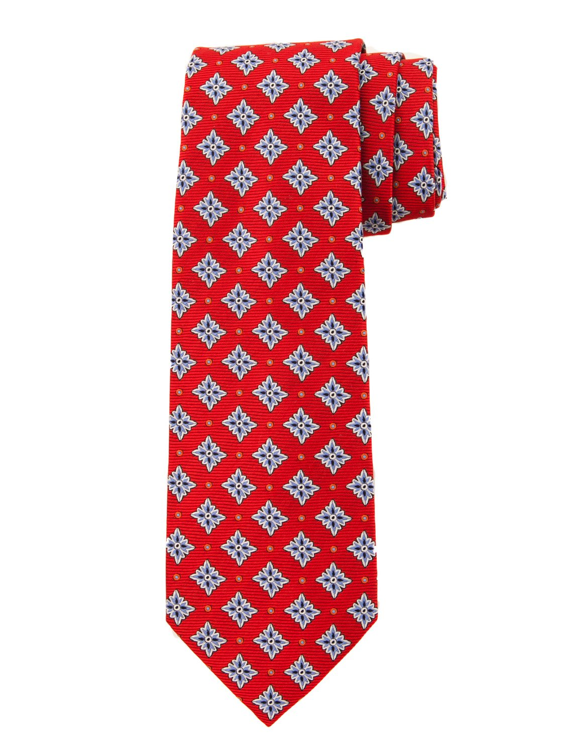 Robert Jensen Finest Silk Handmade Men's Neck Tie - Woven - Snowflake Motif (Red)