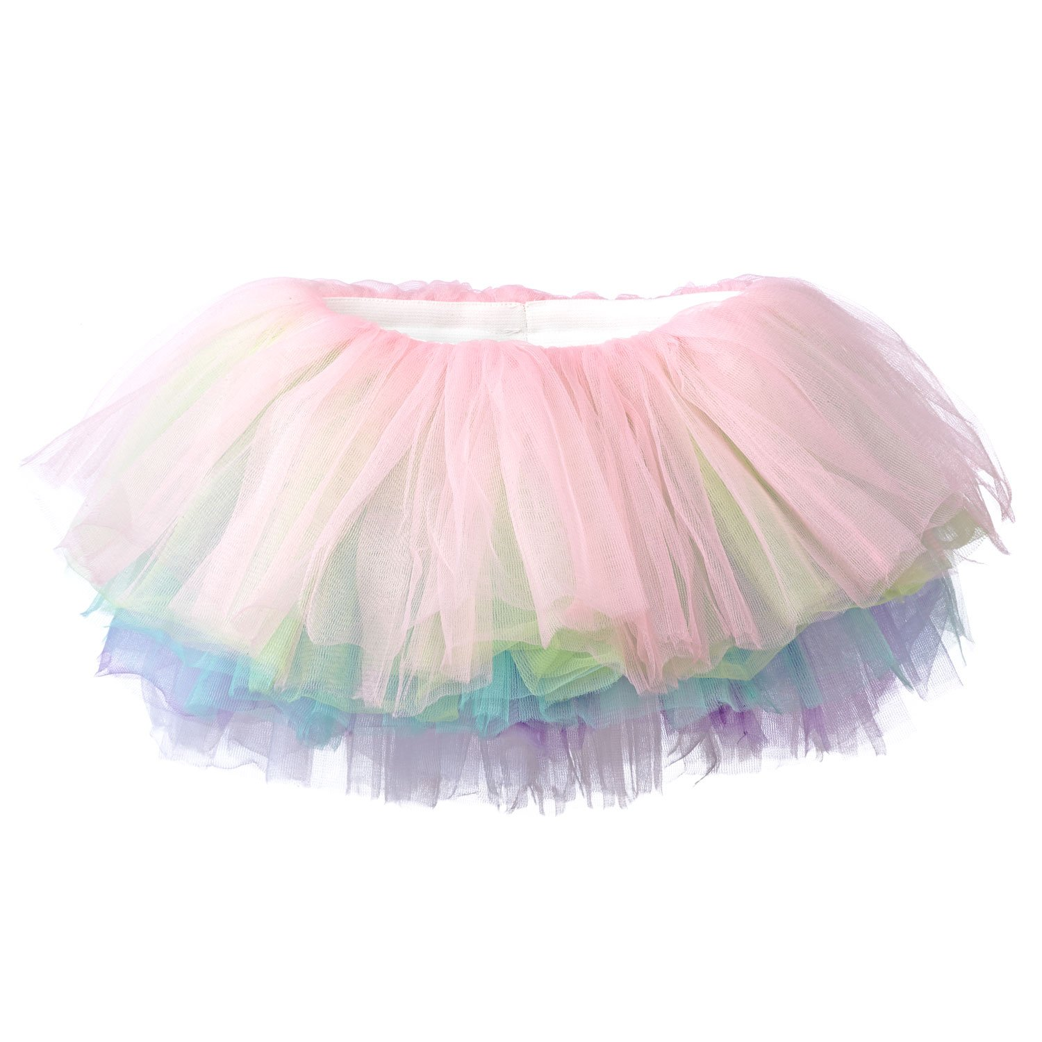 My Lello Big Girls 10-Layer Short Ballet Tulle Tutu Skirt (4T-10yr) -Soft Pastel