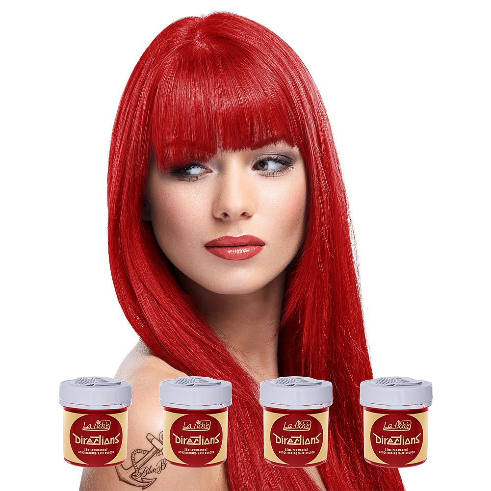 4 x La Riche Directions Semi-Permanent Hair Colour Dye Box Of Four-Pillarbox Red