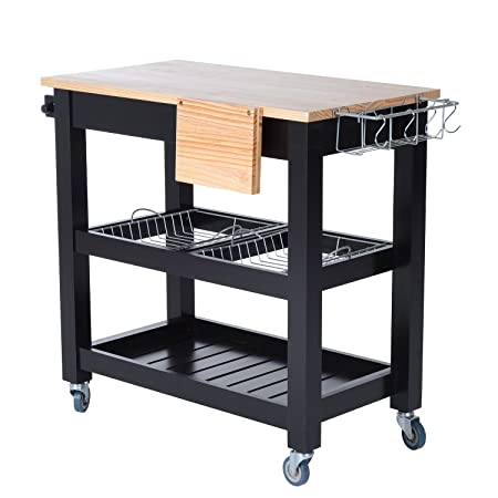HOMCOM CLEARANCE Wooden Rolling Trolley Storage Drawer Shelves Kitchen Cart  Mobile Dining Serving Worktop Wheels W