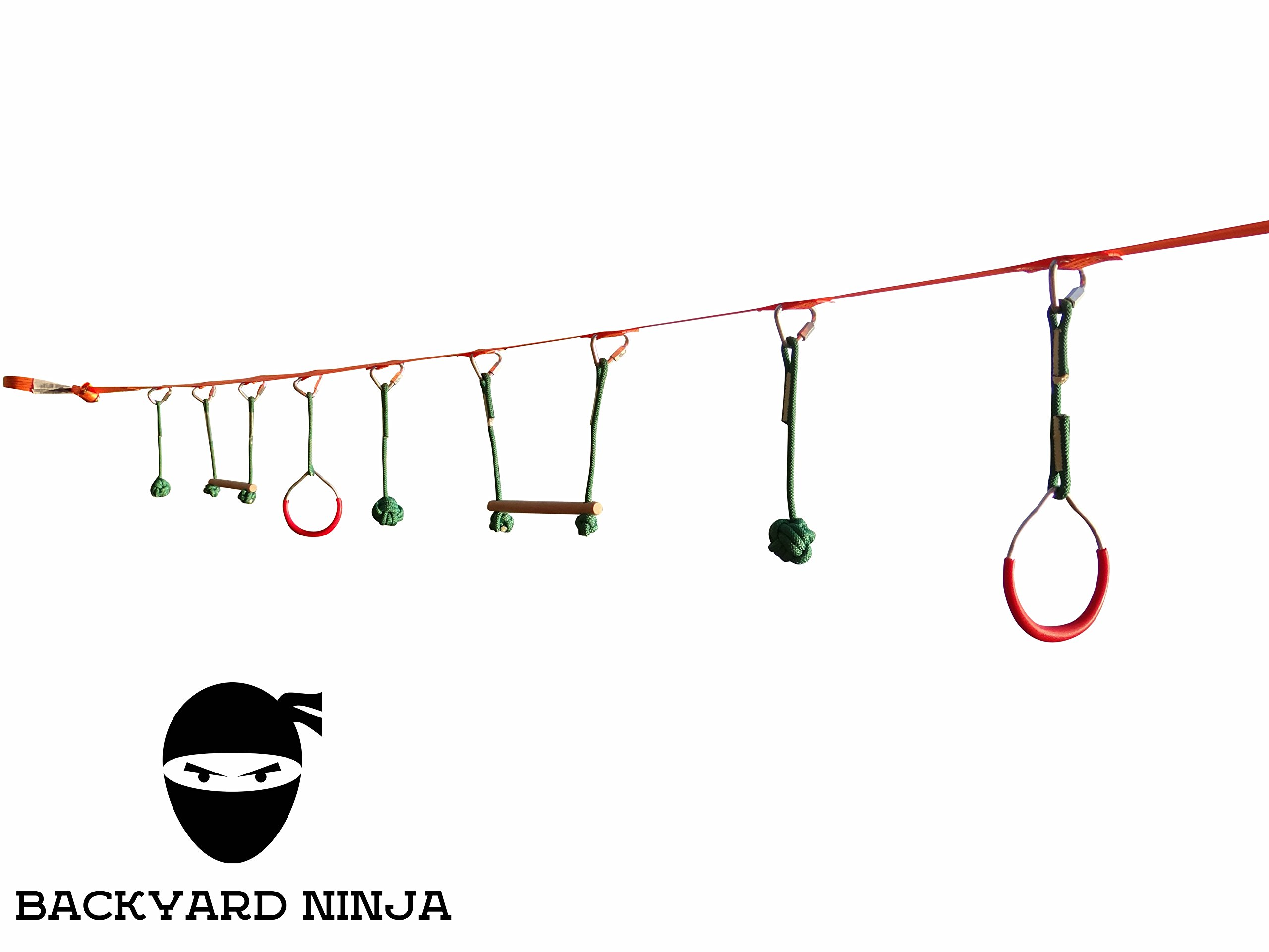 Backyard 45 Foot Ninja Obstacle Course   Inspired By American Ninja Warrior Training Equipment   Slackline Swinging Monkey Bars Includes Hanging Obstacles For Kids   Carrying bag And Tree Protectors