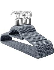 SONGMICS Kleiderbügel Samt, 20 Stück, 0,6 cm dick, Anzugbügel, Jackenbügel mit Rutschfester Oberfläche, mit Zwei Einkerbungen, 360°drehbarer Haken, Antirutsch