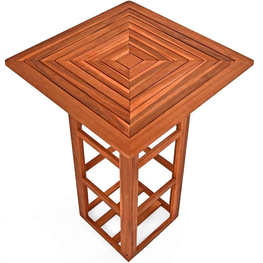 Table de bar carrée jardin terrasse en bois d\'acacia Table ...