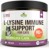 Lysine for Cats - L Lysine Powder Cat Supplements - 900mg, 200 Scoops - Llysine Kitten, Cat Immune System Support Supplement for Cold, Sneezing, Eye Health, Upper Respiratory Infection Treatment, USA