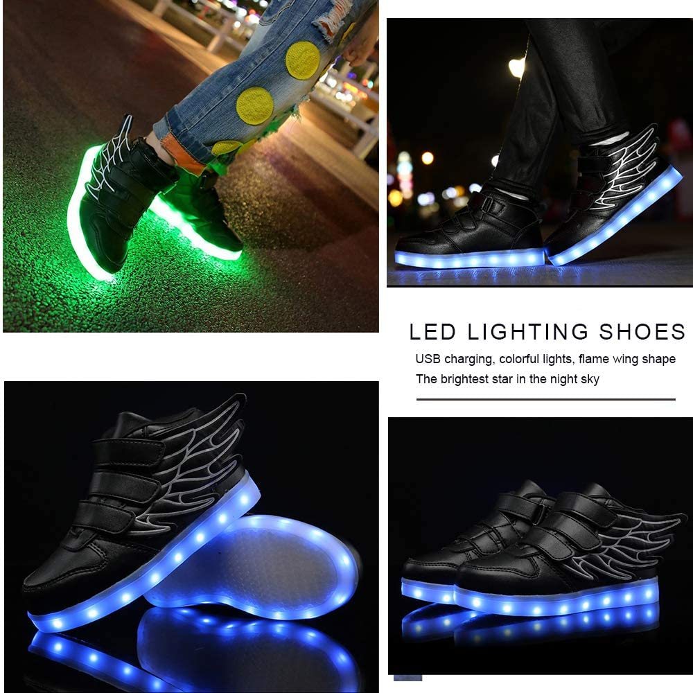 Jedi fight back LED Shoes High Top Light Up Shoes USB Charging Flashing Sneakers with Wings for Kid Boys Girls