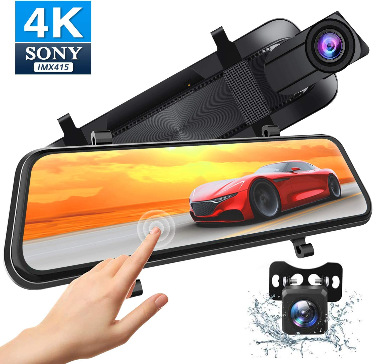 Xeapoms 4K 10'' Mirror Dash Cam Backup Camera for Cars [Optional GPS],Front and Rear View Dual Lens,Sony Night Vision Sensor,Parking Assistance,G-Sensor Emergency Recording
