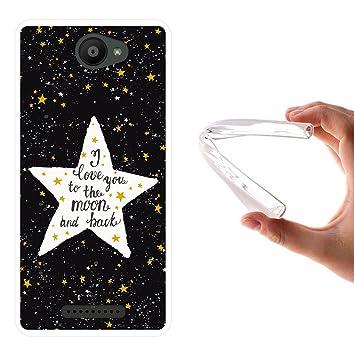 WoowCase Funda Bq Aquaris U - U Lite, [Bq Aquaris U - U Lite ] Funda Silicona Gel Flexible Estrellas Frase - I Love You To The Moon and Back, Carcasa ...