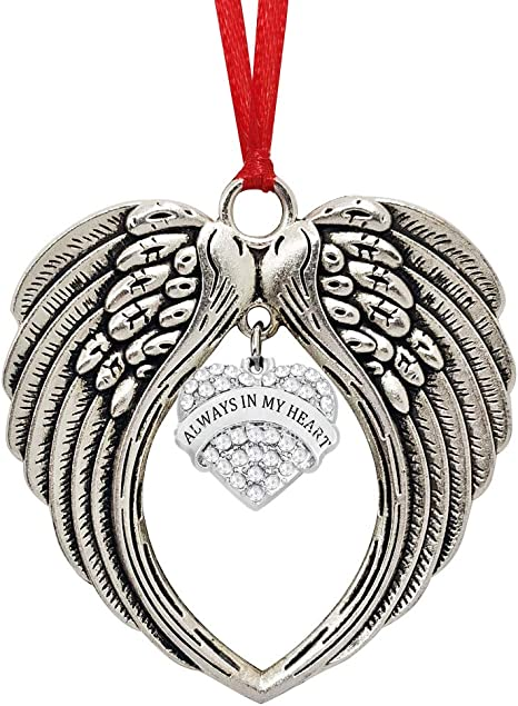 Amazon Com Juppe Angel Wings Christmas Ornaments For Christmas Tree Alway In My Heart Double Sided Memorial Ornament For Loss Of Loved One Luxurious Silk Ribbon Silver 8 Kitchen Dining