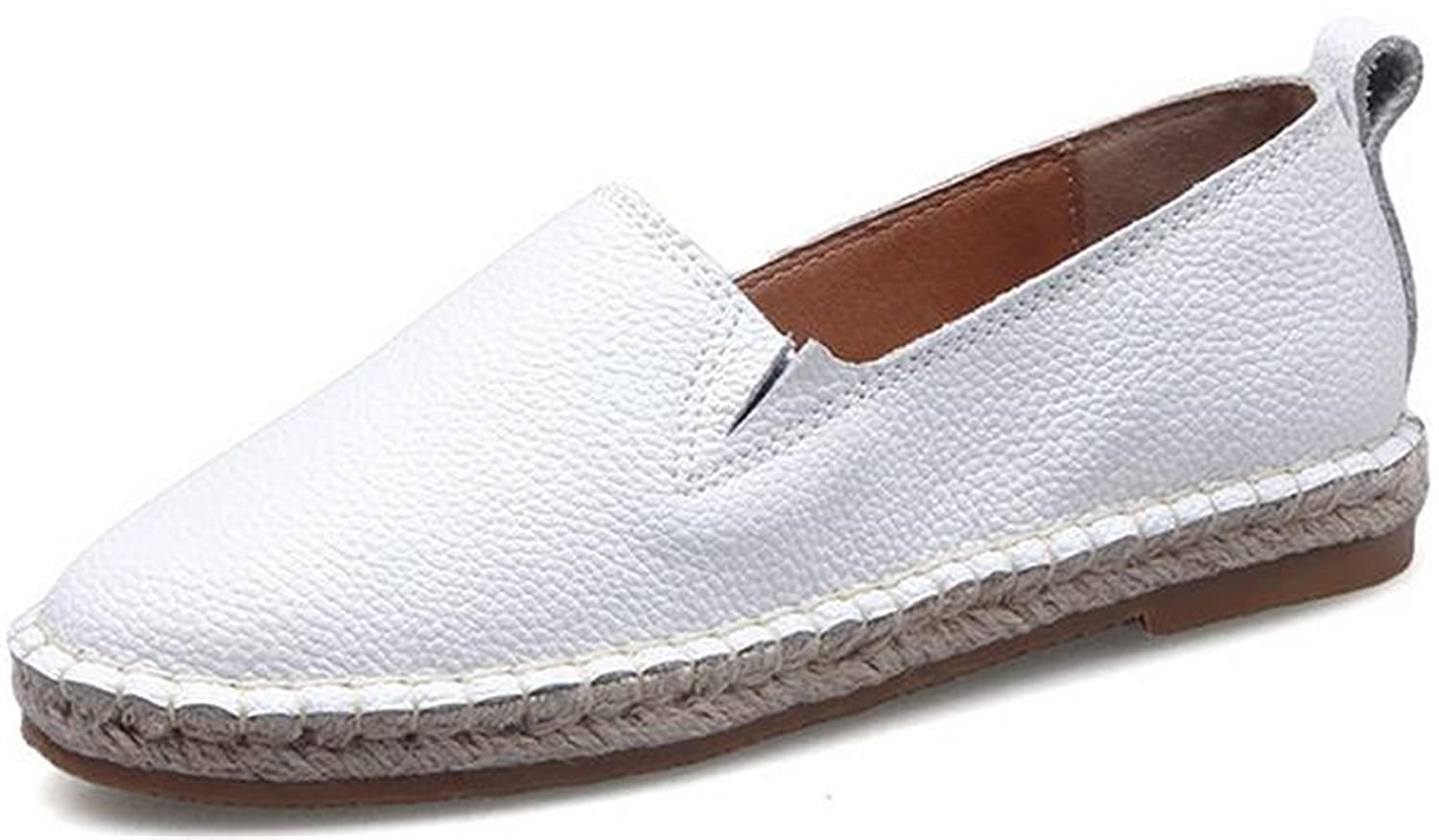 PPXID Women's Leather Flat Solid Color Slip-on Loafers Pumps Shoes