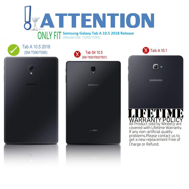 Wineecy Galaxy Tab A 10.5 2018 Teclado Funda(QWERTY), Funda de Cuero con Desmontable Inalámbrico Bluetooth Teclado para Samsung Galaxy Tab A 10.5