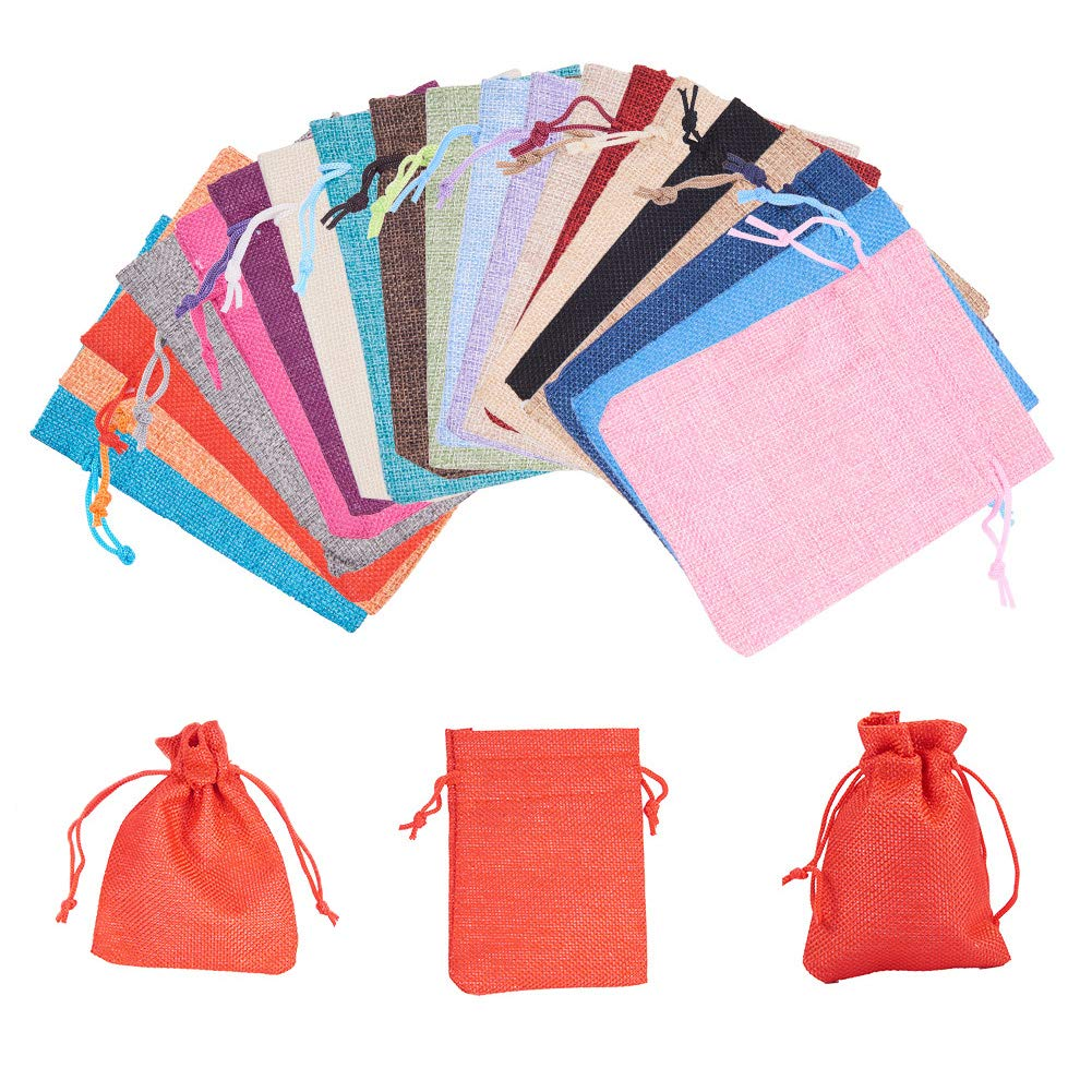 PandaHall Elite 40 Pcs Burlap Bags with Drawstring Gift Bags Jewelry Pouch 20 Colors for Wedding Party, Arts Crafts Projects, Presents, Snacks, Jewelry 4.7x3.5 Inch