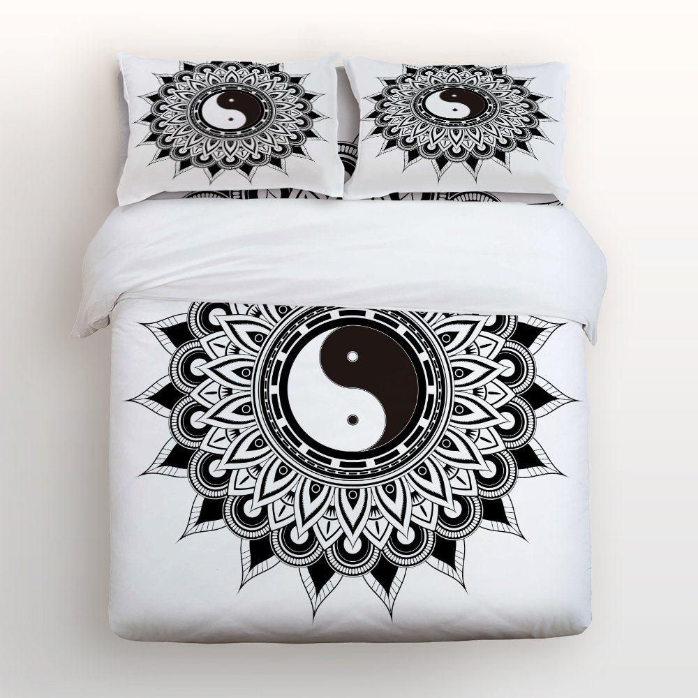 Libaoge 4 Piece Bed Sheets Set, Monochrome Chinese Yin Yang Bagua Tai Chi with Floral Mandala Pattern, 1 Flat Sheet 1 Duvet Cover and 2 Pillow Cases