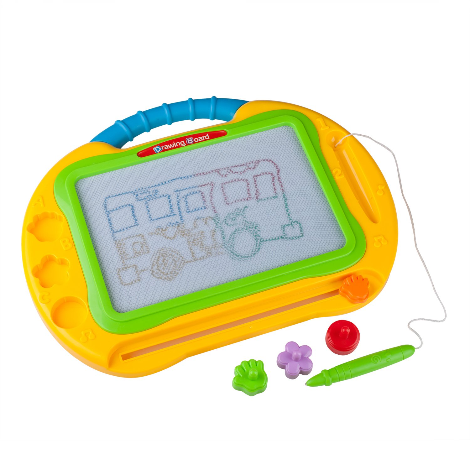 ikidsislands IKS99Y [Travel Size] Color Magnetic Drawing Board for Kids & Toddlers - Non Toxic Large Magna Sketch Doodle Educational Toy for Boys, with 1 Pen & 2 Stamps (Yellow) by ikidsislands (Image #3)