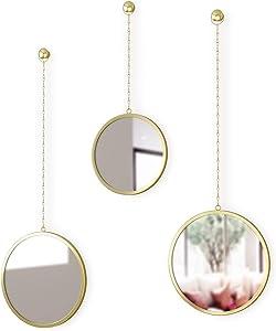 Umbra 1013877-104 Dima Round Set of 3, Trio Mirrors Apartment Decor/Wall Art, Brass,10