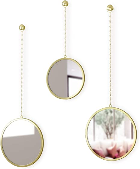 Amazon Com Umbra 1013877 104 Dima Round Set Of 3 Trio Mirrors Apartment Decor Wall Art Brass 10 Depth Home Kitchen