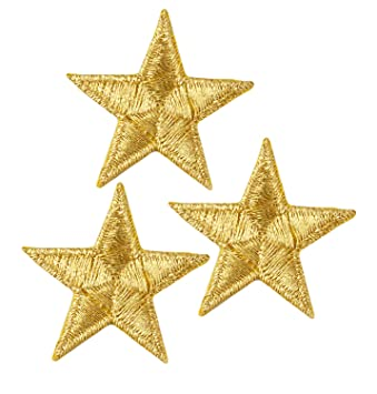 35999019fde8c Simplicity Gold Star Applique Clothing Iron On Patch, 3pc, 1.25