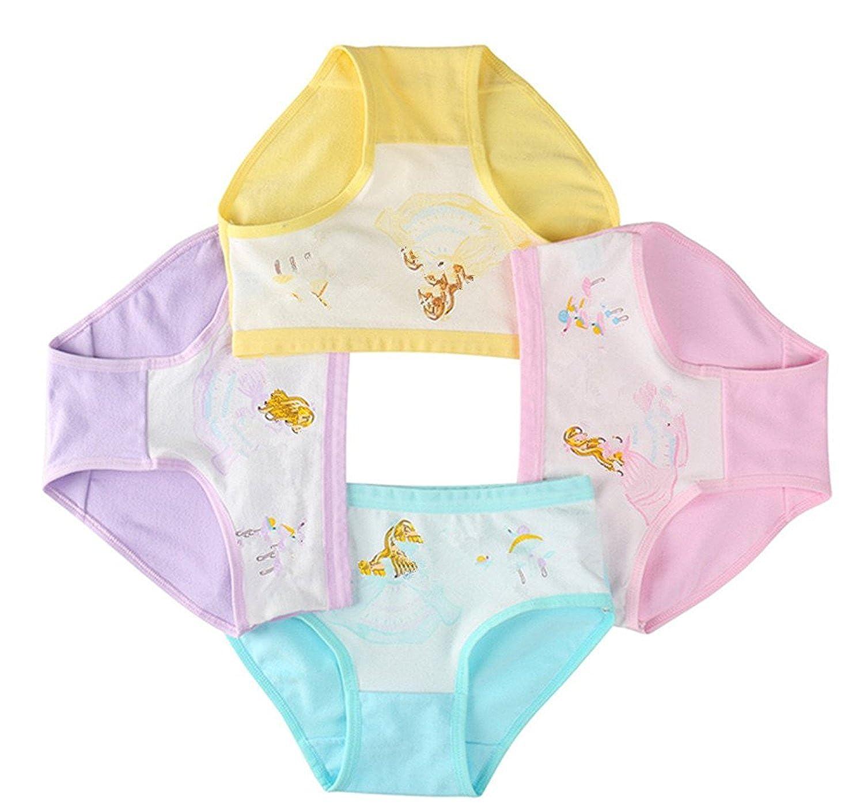 DVANIS Cute Cartoon Little Girls 4 Packs Underwear Girl Hipster Girl Knickers Girl Briefs Comfortable Cotton