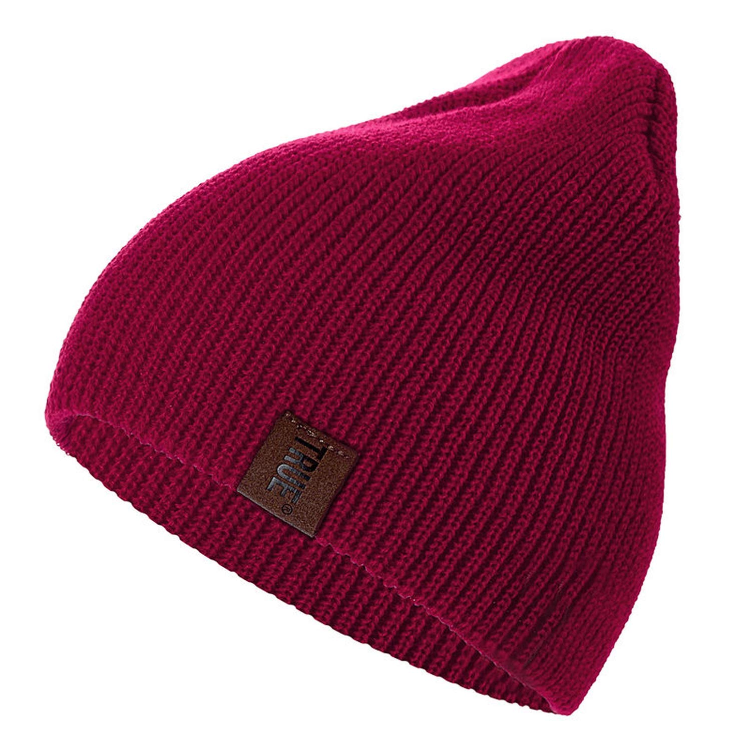 MingDe Sports 1 Pcs Hat PU Letter Casual Beanies for Men Women Warm Knitted Winter Hat Fashion Solid Beanie Hat Unisex Cap