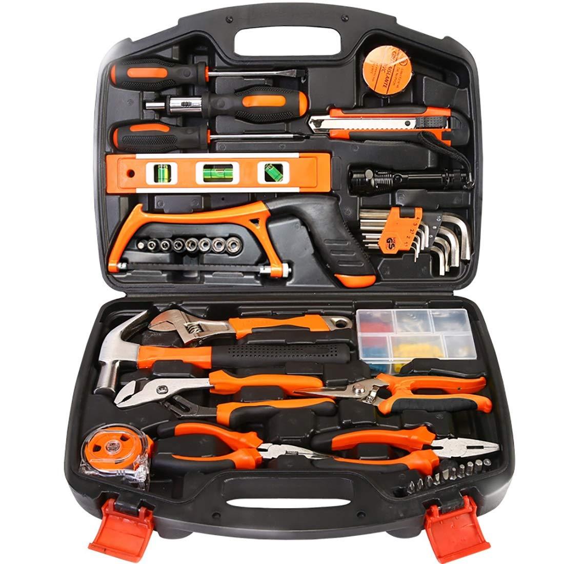 106-tlg. Haushaltswerkzeug-Kit Multifunktions-Auto-Hardware-Toolbox-Elektriker-Holzbearbeitung-Reparatur-Handbuch-Kombinationssatz. (Farbe   Orange) Orange