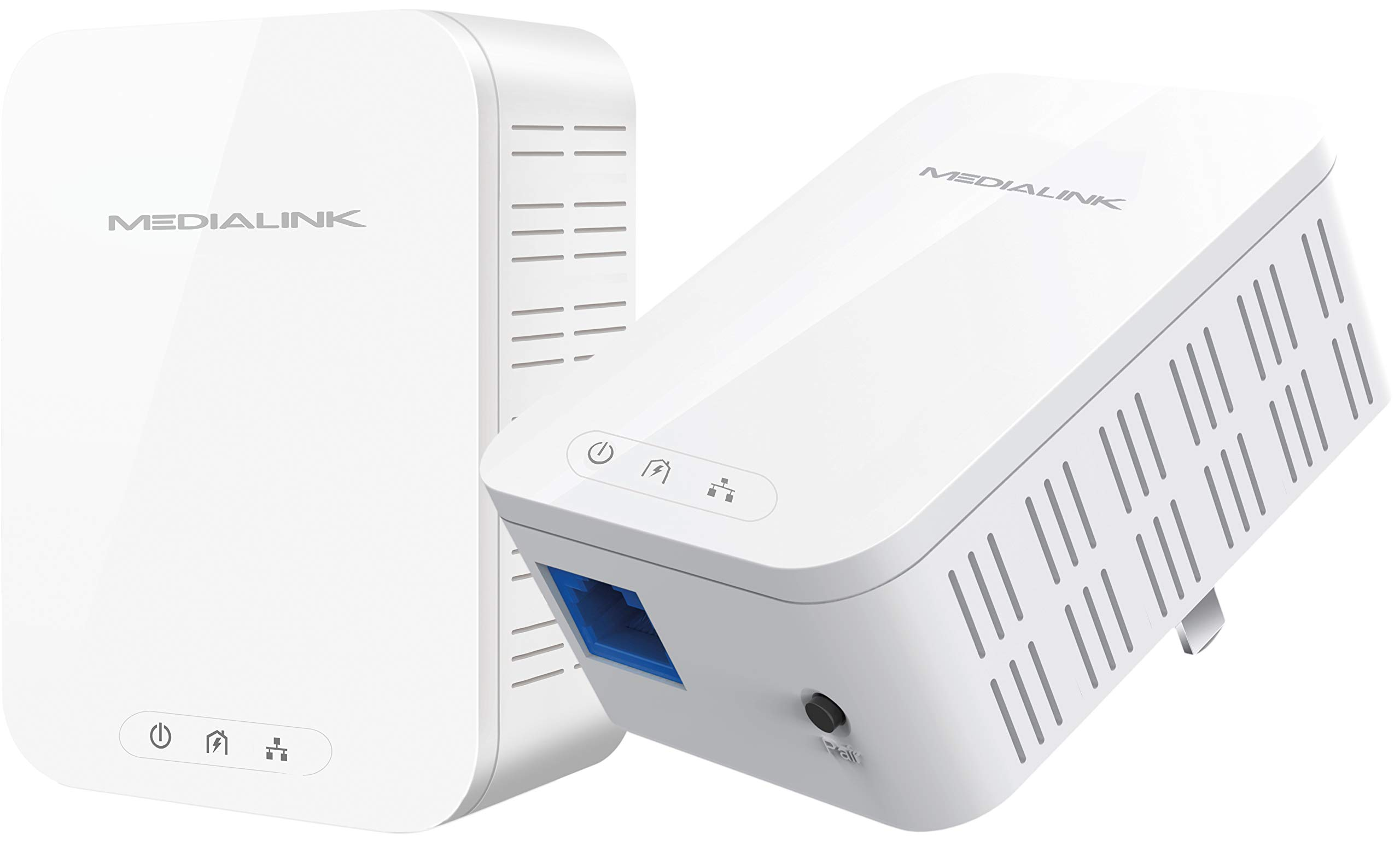 Medialink Gigabit Powerline Adapter Kit (2 Units) - Ethernet Homeplug with Gigabit (1000 Mbps) Wired Speed (Part# MPLA-1000X2) by Mediabridge