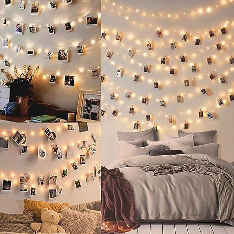 100led Luci Led Per Foto Polaroid 10m Lucine Led Decorative Per Camere Porta Foto Luci Con Mollette Led Per Foto Luci Decorative Interno Amazon It Illuminazione