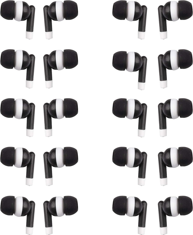 JustJamz Dot Basic Headphones Black in-Ear Earbud Headphones 3.5 MM Earphones for Apple Android Laptop PC Mac, Ideal for Students Kids Classroom, 100 Pack