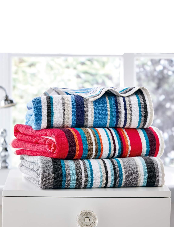 Christy Henley Stripe Towels Blue Hand Towel (20x 35)