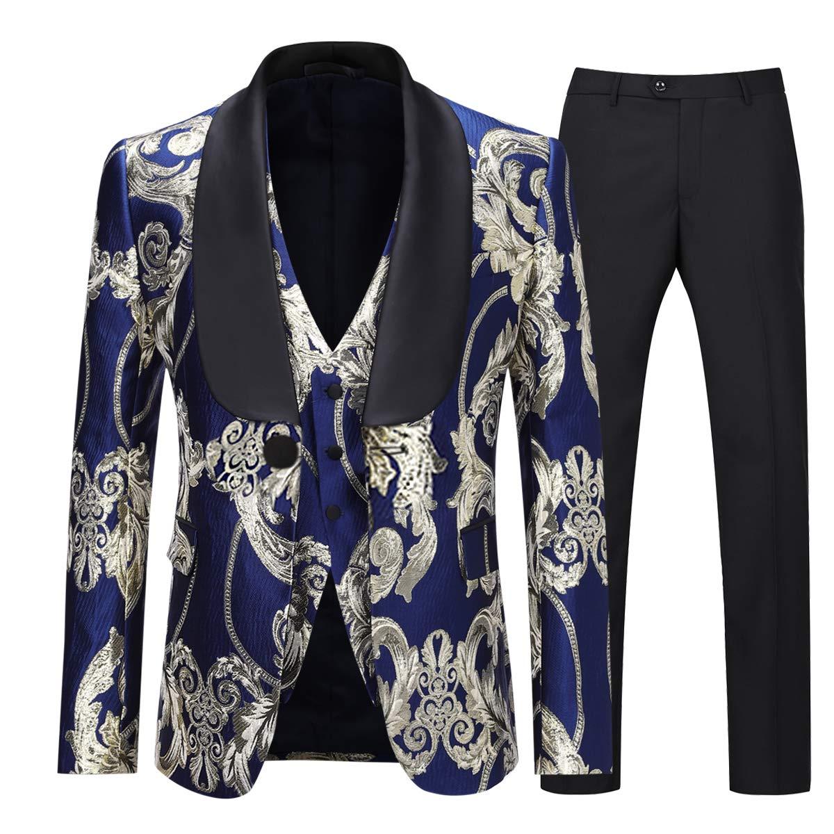 Boyland Men's Luxury Tuxedo Suit Slim Fit 3 Pieces Shawl Lapel Golden Floral Prom Dinner Tux Suit Jacket Vest Pants by Boyland