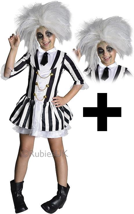 Girls Beetlejuice Halloween Tim Burton Kids Childrens Fancy Dress Costume Wig Woodlandhideawaypark Co Uk
