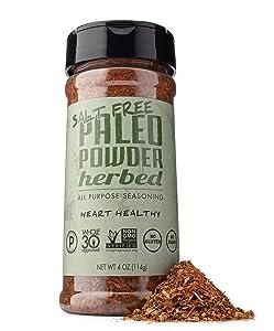 Paleo Powder All Purpose Salt Free Herb Seasoning. The Original Paleo Salt-Free Seasoning Great for all Paleo Diets! Certified Keto Food, Paleo Whole 30, AIP Food, Gluten Free Seasoning.