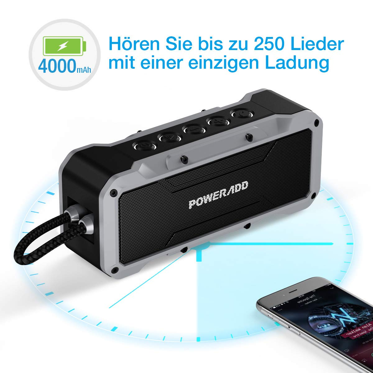 Poweradd Musicfly Bluetooth 4.2 Wasserdicht IPX7 Lautsprecher