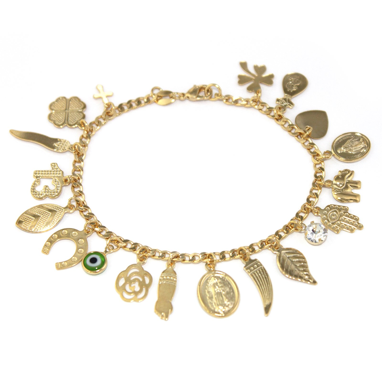 Fine Jewelry Paradise Gold Filled Anklet Bracelet Lucky Charms 9.5 inches Length Evil Eye Protection and Good Luck Amulet Foot Ankle