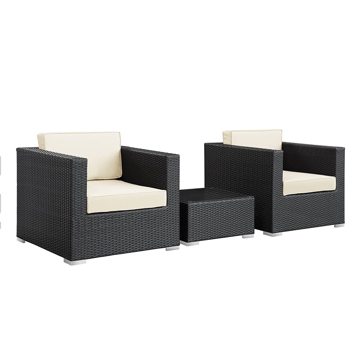 Furniture of america chaves contemporary 3 piece sofa set - Amazon Com Modway Burrow 3 Piece Espresso Patio Sectional Set With White Cushions Patio Sofas Garden Outdoor