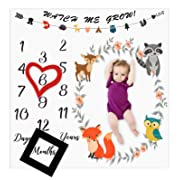 Baby Monthly Milestone Blanket Woodland Animals Personalized Photography Props Backdrop Blankets for Infant Newborn Swaddling Boy Girl Baby Shower Gifts