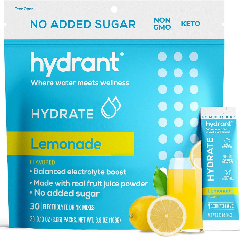 Hydrant Hydrate Lemonade No Added Sugar 30 Stick Packs, Electrolyte Powder Rapid Hydration Mix, Hydration Powder Packets Drink Mix, Helps Rehydrate Better Than Water