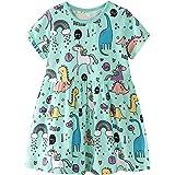 BTGIXSF Toddler Girls Cotton Casual Dress Little Girl Cartoon Short Sleeves Dinosaur Dresses