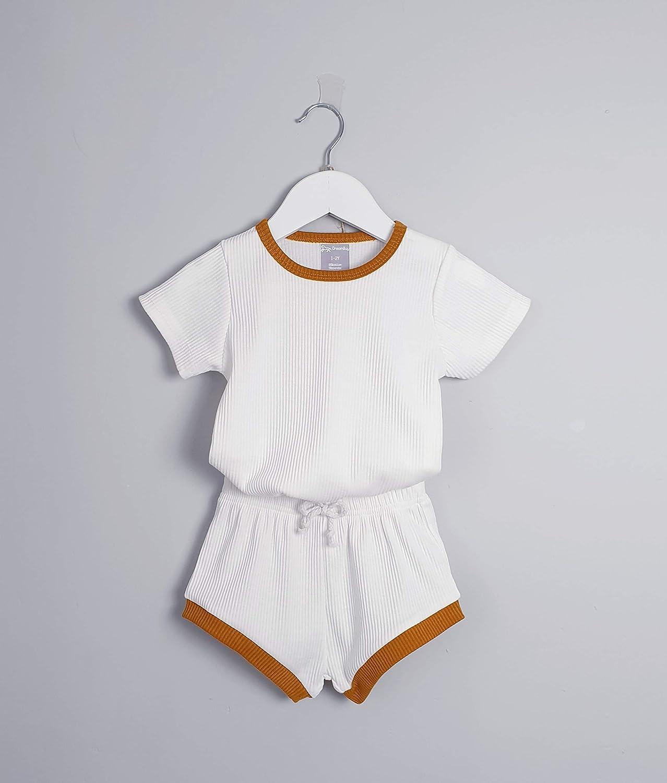6M-4Y Baby Kids Summer Set Unisex Girls Pjs /& Boys Soft Comfy Cotton Elastic Ribbed Loungewear Lounge suit Sleepwear 2pcs Clothes Snug Fit Plain Dyed Solid Color Outfit