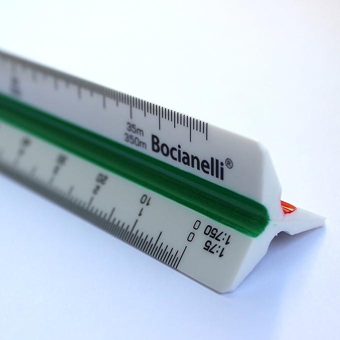 lunghezza 30 cm Aristo Righello triangolare in plastica per la scuola professionale scala 1:20//25 // 33,33//50 // 75//100