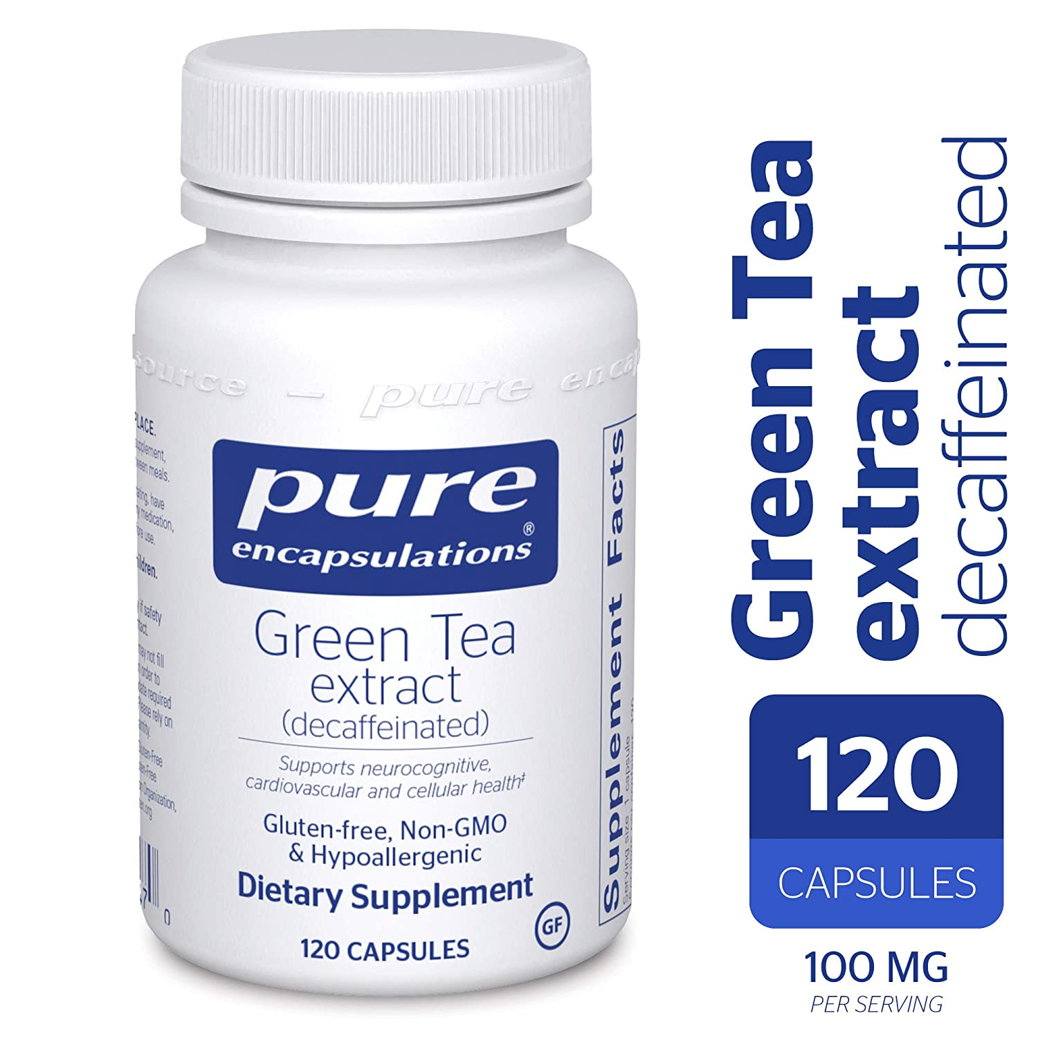 Pure Encapsulations – Green Tea Extract – Decaffeinated – Hypoallergenic Antioxidant Support for All Cells in The Body* – 120 Capsules