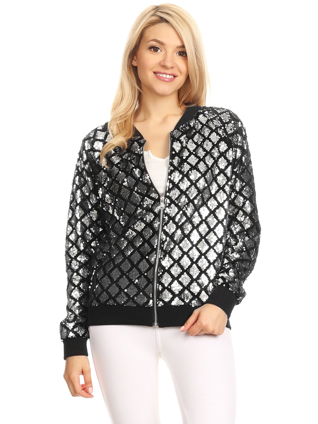 Anna-Kaci Womens Sequin Long Sleeve Front Zip Jacket with Ribbed Cuffs, Silver Diamond, X-Large