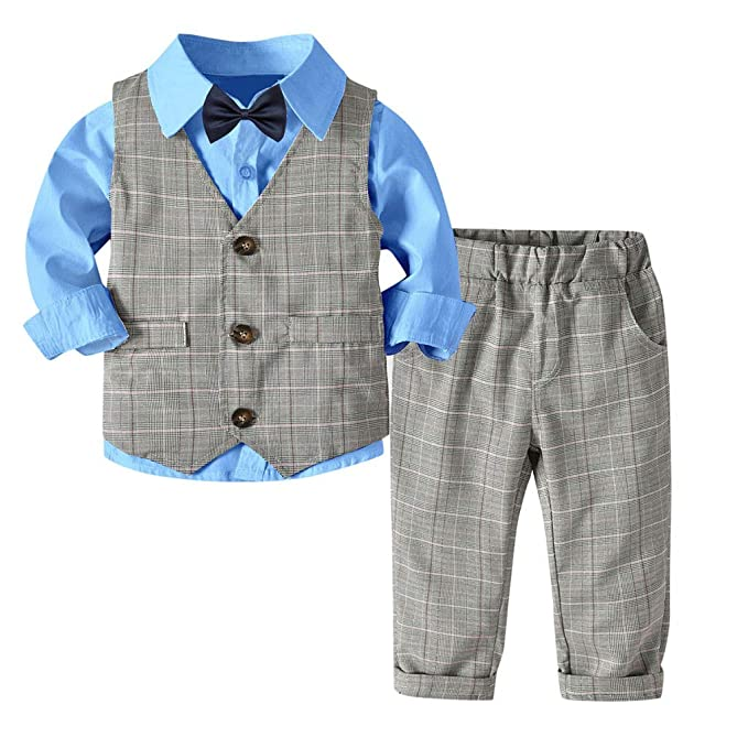 e554e2db98ea Baby Toddler Boys Outfits Clothes Suit 1-6 Years Old Kids Fashion Bowtie Gentleman  Vest