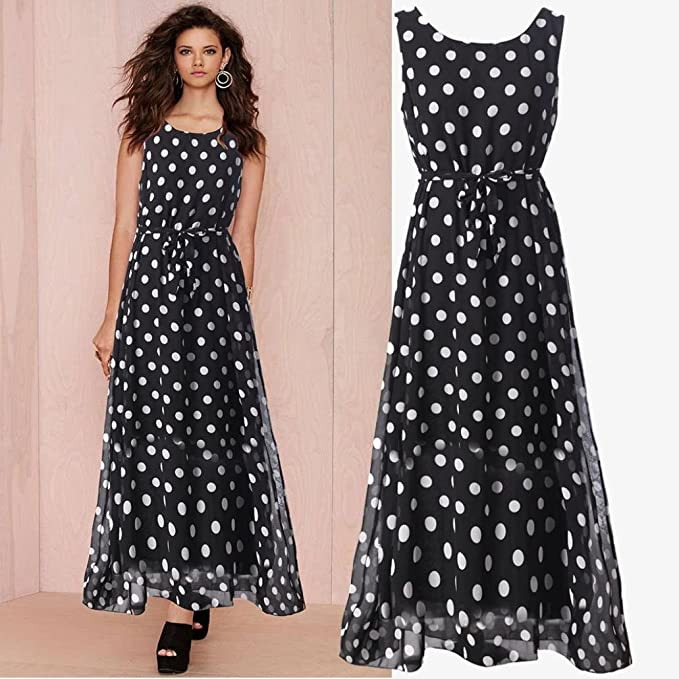 Amazon.com : Coohole Womens Fashion Polka Dots Bodycon Chiffon Dress Ladies Evening Party Long Dress : Sports & Outdoors