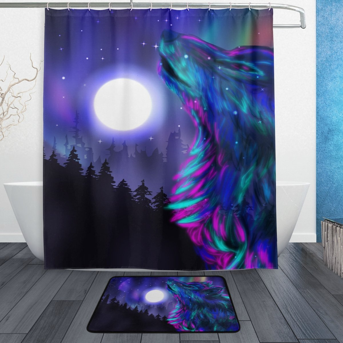 BAIHUISHOP Tree Wolf Moon Night 3-Piece Bathroom Set, Machine Washable for Everyday Use,Includes 60x72 Inch Waterproof Shower Curtain, 12 Shower Hooks and 1 Non-slip Bathroom Rug Carpet - Set of 3